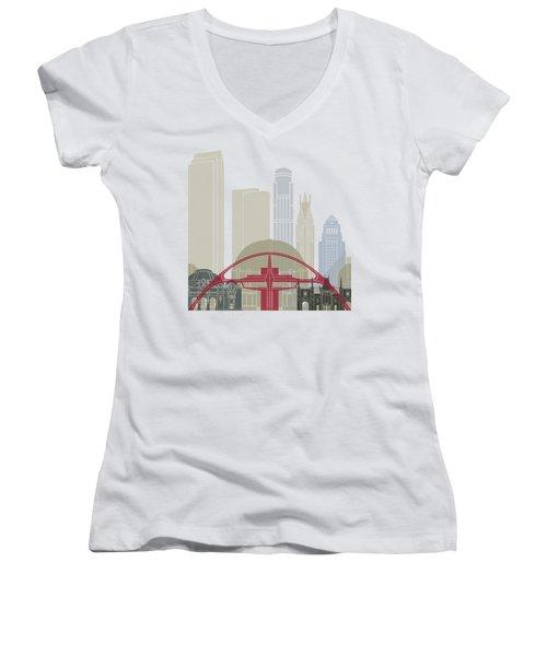 Los Angeles Skyline Poster Women's V-Neck T-Shirt (Junior Cut)