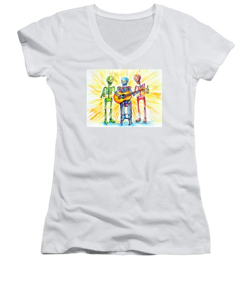 Women's V-Neck T-Shirt (Junior Cut) featuring the painting Los Tres Cantantes by Heather Calderon