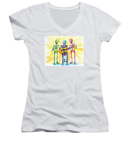 Los Tres Cantantes Women's V-Neck T-Shirt (Junior Cut) by Heather Calderon