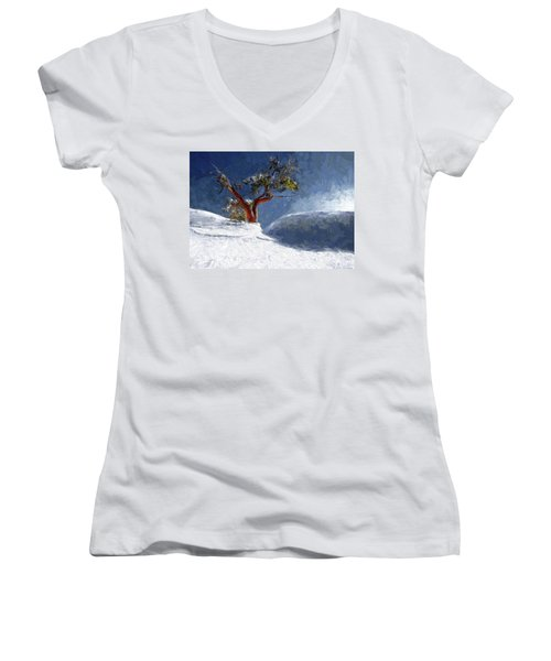 Lost In The Snow Women's V-Neck T-Shirt (Junior Cut) by Alex Galkin