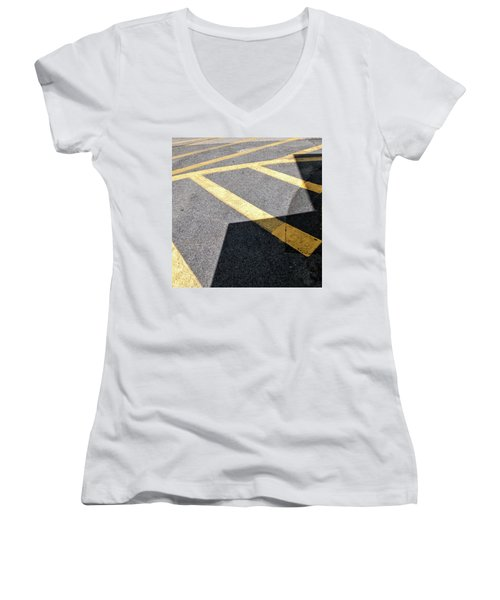 Women's V-Neck featuring the photograph Lot Lines by Eric Lake