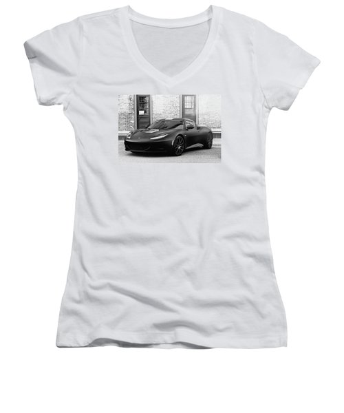 Women's V-Neck T-Shirt (Junior Cut) featuring the photograph Lotus Evora by Joel Witmeyer
