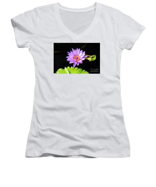 Lotus Splendor Women's V-Neck T-Shirt (Junior Cut) by Deborah Crew-Johnson