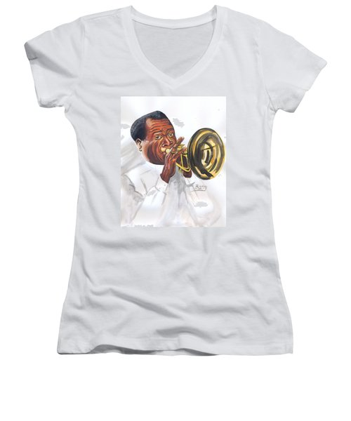 Women's V-Neck T-Shirt (Junior Cut) featuring the painting Louis Armstrong by Emmanuel Baliyanga