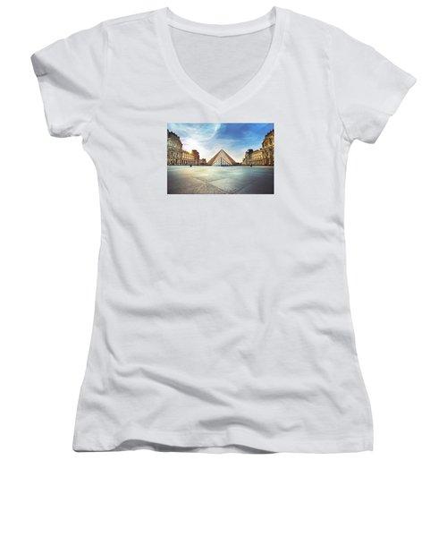 Louvre Museum Women's V-Neck T-Shirt (Junior Cut) by Ivan Vukelic