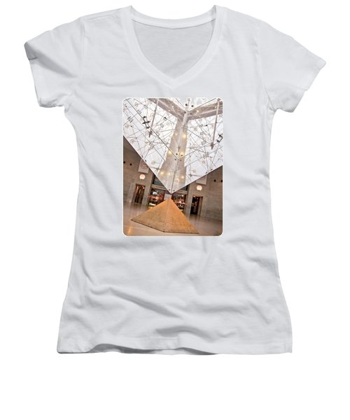 Women's V-Neck T-Shirt (Junior Cut) featuring the photograph Louvre Pyramid by Silvia Bruno