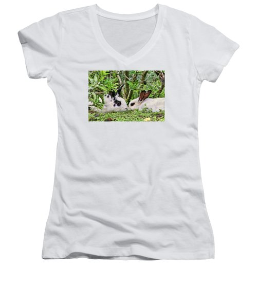 Love Bunnies In Costa Rica Women's V-Neck T-Shirt (Junior Cut) by Peggy Collins