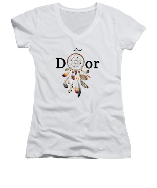 Women's V-Neck featuring the painting Love Dior Watercolour Dreamcatcher by Georgeta Blanaru