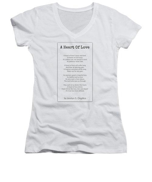 Love Heart Women's V-Neck T-Shirt