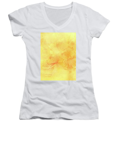 Love Is Patient Love Is Kind Women's V-Neck T-Shirt (Junior Cut) by Catherine Alfidi