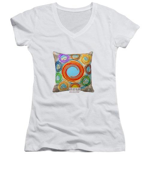 Love My Pillows Colorful Circles By Navinjoshi Artistwebsites Fineartamerica Pixels Women's V-Neck T-Shirt (Junior Cut) by Navin Joshi