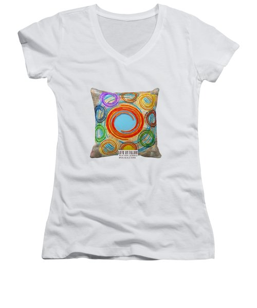 Love My Pillows Colorful Circles By Navinjoshi Artistwebsites Fineartamerica Pixels Women's V-Neck (Athletic Fit)