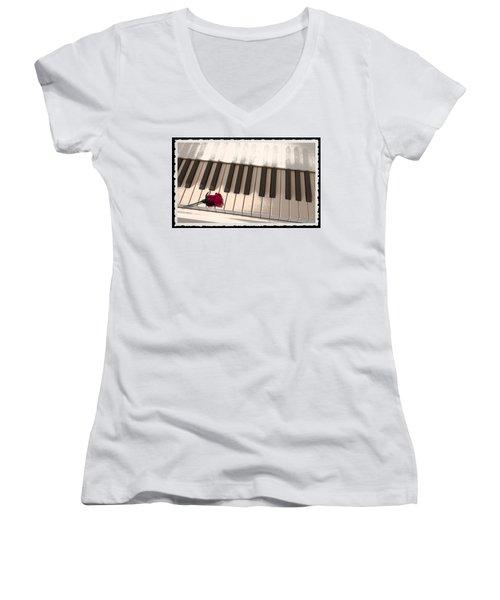 Love Notes Women's V-Neck T-Shirt (Junior Cut) by Terri Harper