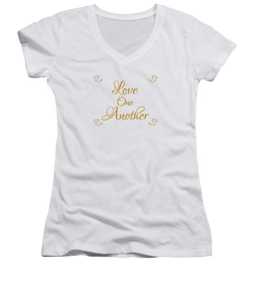 Love One Another Golden 3d Look Script Women's V-Neck