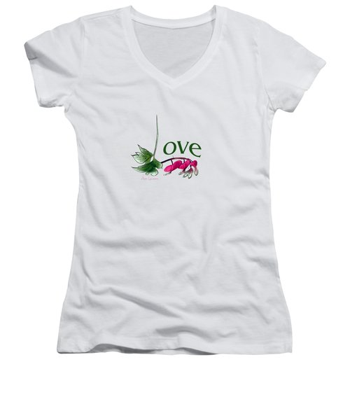 Women's V-Neck T-Shirt (Junior Cut) featuring the digital art Love Shirt by Ann Lauwers