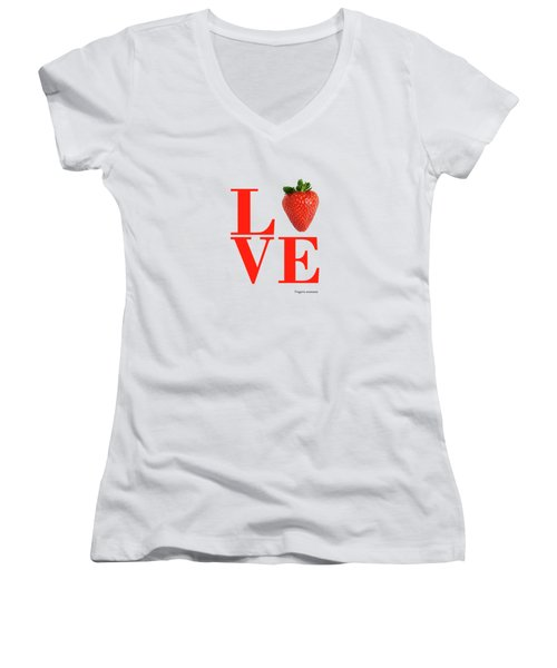 Love Strawberry Women's V-Neck (Athletic Fit)