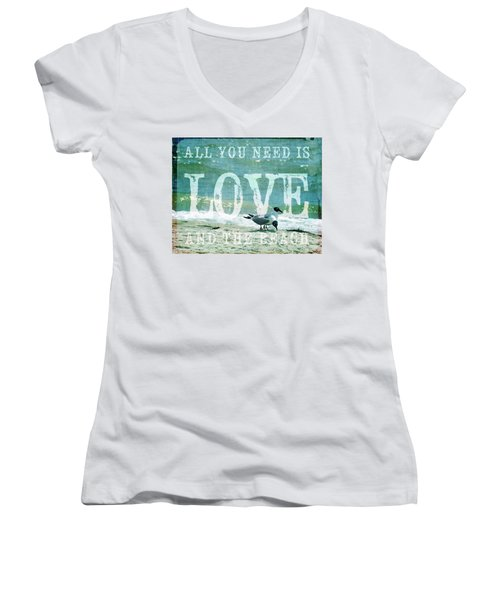 Women's V-Neck T-Shirt (Junior Cut) featuring the photograph Love The Beach by Jan Amiss Photography
