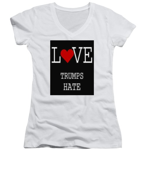 Love Trumps Hate Women's V-Neck T-Shirt (Junior Cut) by Dan Sproul