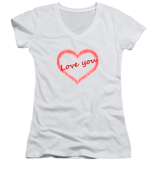 Love You Women's V-Neck T-Shirt (Junior Cut) by Roger Lighterness