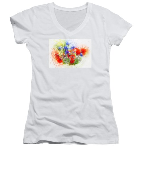 Watercolour Bouquet Women's V-Neck