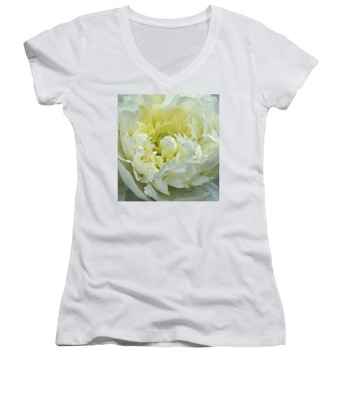 Women's V-Neck T-Shirt (Junior Cut) featuring the photograph Lovely Peony by Sandy Keeton