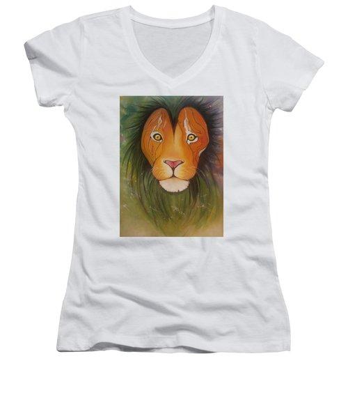 Lovelylion Women's V-Neck T-Shirt (Junior Cut) by Anne Sue