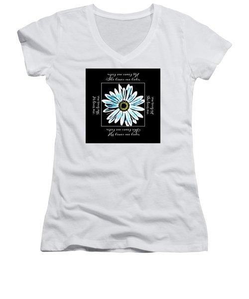 Loves Me In Blue Women's V-Neck T-Shirt
