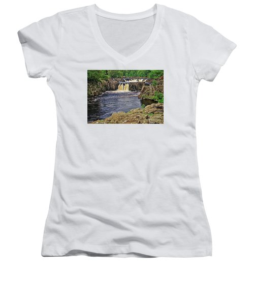 Low Force Waterfall, Teesdale, North Pennines Women's V-Neck