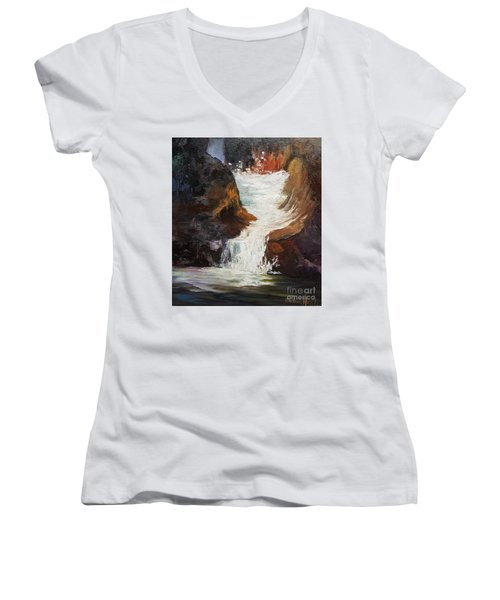 Lower Chasm Waterfall Women's V-Neck T-Shirt (Junior Cut)
