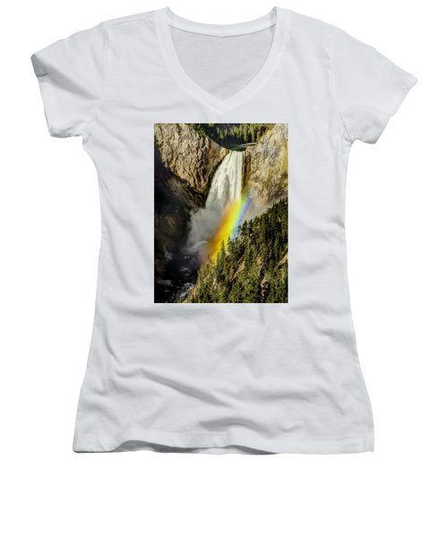 Lower Falls- Yellowstone Park Women's V-Neck T-Shirt (Junior Cut) by Penny Lisowski