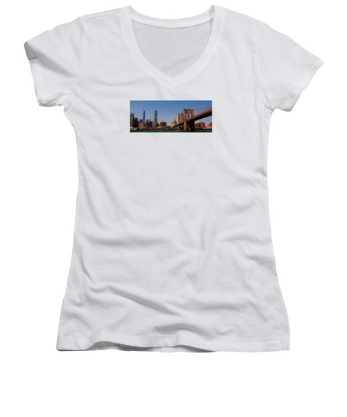 Lower Manhattan Nyc Women's V-Neck (Athletic Fit)