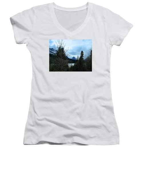 Lower Two Med Lake Through The Trees Women's V-Neck T-Shirt