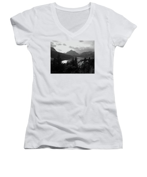 Lower Two Medicine Lake In Black And White Women's V-Neck T-Shirt
