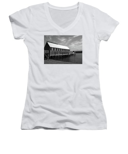 Women's V-Neck T-Shirt (Junior Cut) featuring the photograph Lubec, Maine by Trace Kittrell