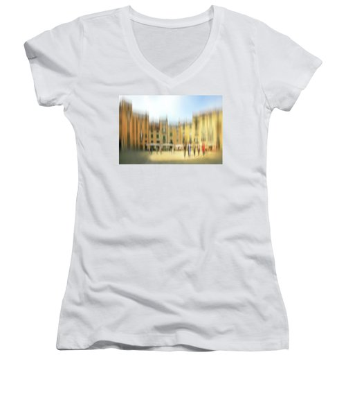 Lucca Ampitheatre Impression 1 Women's V-Neck T-Shirt (Junior Cut) by Marty Garland