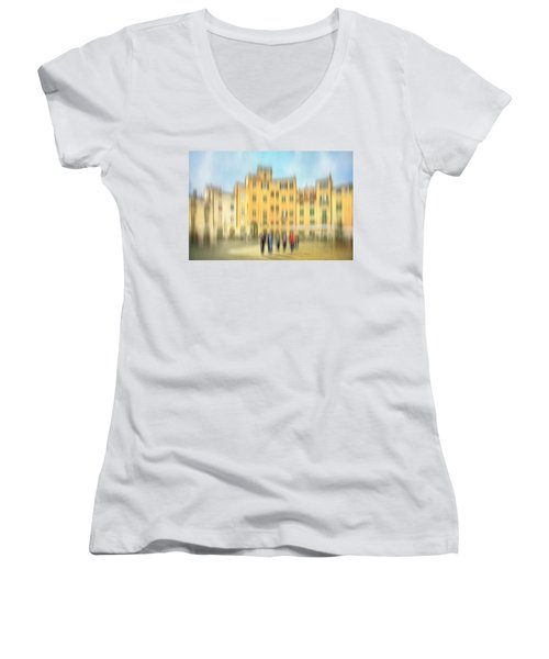 Lucca Ampitheatre Impression 2 Women's V-Neck T-Shirt (Junior Cut) by Marty Garland