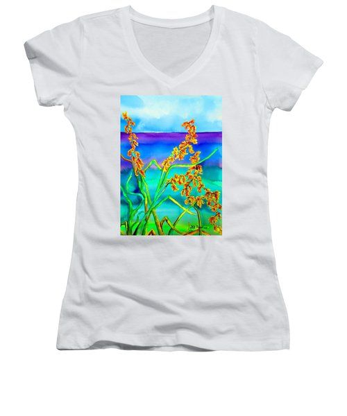 Women's V-Neck T-Shirt (Junior Cut) featuring the painting Luminous Oats by Lil Taylor