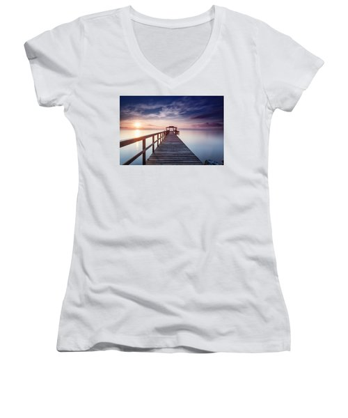 Lumos Maxima Women's V-Neck T-Shirt (Junior Cut) by Edward Kreis