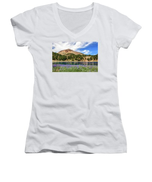 Lupines Lake And Lassen Women's V-Neck