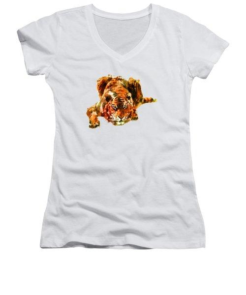 Lurking Tiger Women's V-Neck T-Shirt