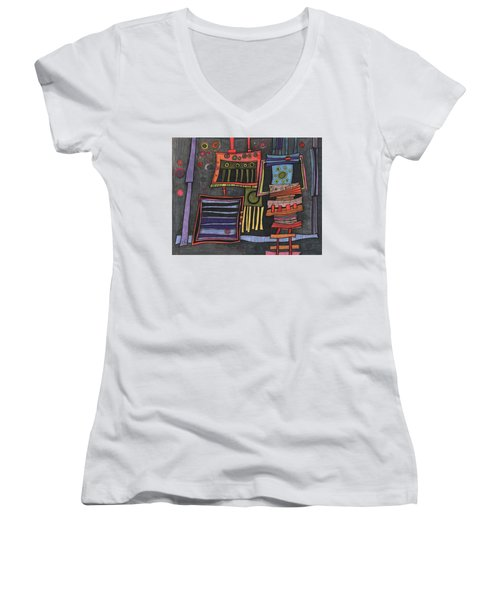 Lurking Under The Bed Women's V-Neck T-Shirt (Junior Cut) by Sandra Church