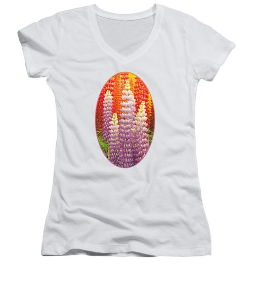 Luscious Lupins Women's V-Neck T-Shirt