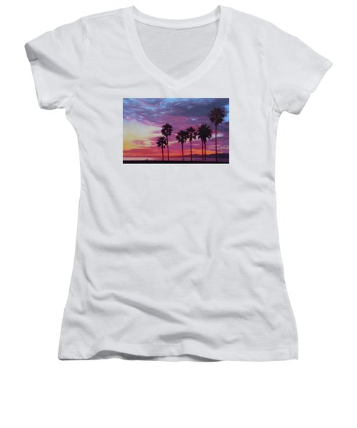 Women's V-Neck T-Shirt (Junior Cut) featuring the painting Lush by Andrew Danielsen
