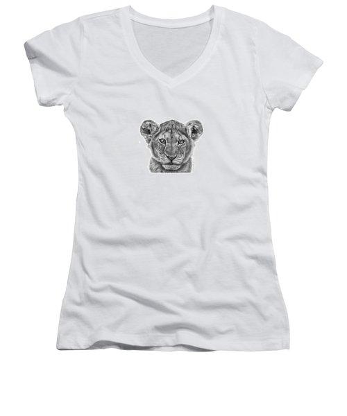Lyla The Lion Cub Women's V-Neck T-Shirt (Junior Cut) by Abbey Noelle
