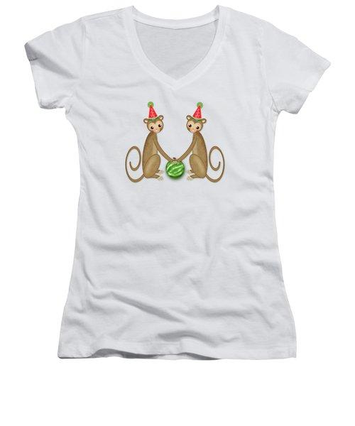 M Is For Monkeys Women's V-Neck T-Shirt