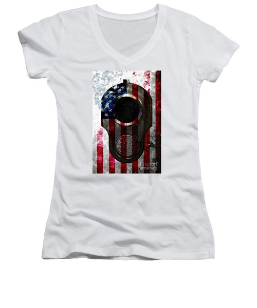M1911 Colt 45 Muzzle And American Flag On Distressed Metal Sheet Women's V-Neck T-Shirt (Junior Cut) by M L C