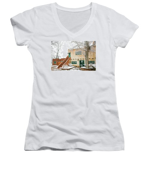 Women's V-Neck T-Shirt (Junior Cut) featuring the photograph Mabel Dodge House 2 by Marilyn Hunt