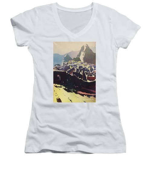 Machu Picchu Morning Women's V-Neck (Athletic Fit)