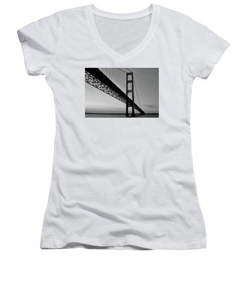 Mackinac Bridge At Sunset Women's V-Neck