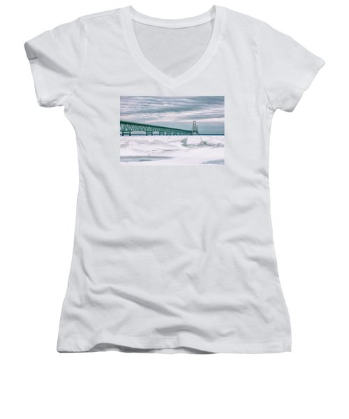 Women's V-Neck T-Shirt (Junior Cut) featuring the photograph Mackinac Bridge In Winter During Day by John McGraw